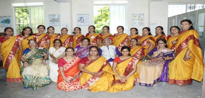 Mrs.Sonal Amit Shah with all staff of Princes Padmaraje Girls Highschool at PPGH Campus.