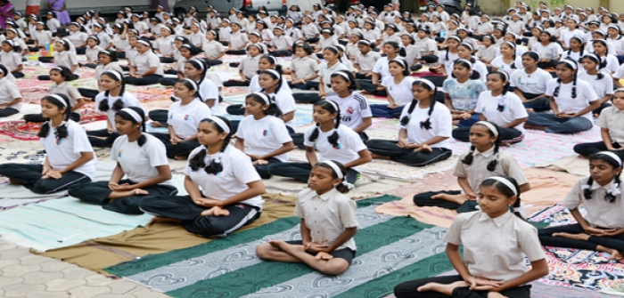 World Yoga Day 21st June at Prin.Padmaraje Girls High. Campus